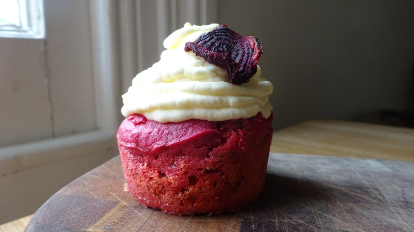 One of my favourite dishes roasted beetroot and goats cheese with horseradish cream dolled up into a cupcake.